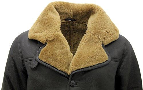 Shearling Zenzero Di Marrone Da Con Pelle Cuoio Lunga Caldo Pecora Uomo Reale Cintura Cappotto gqACwYw