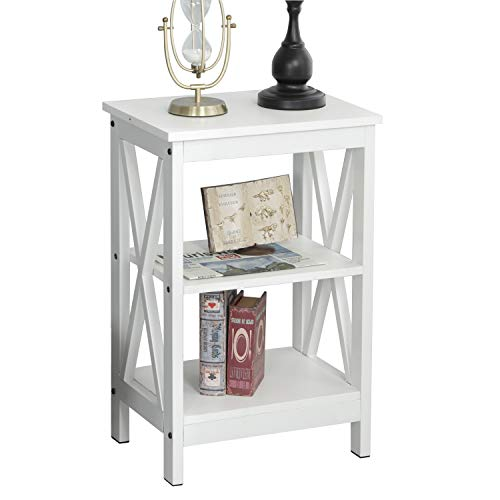 soges End Table Coffee Table Night Stand Side Table Sofa Table with 3-Tier Shelf White DX-240A-XW