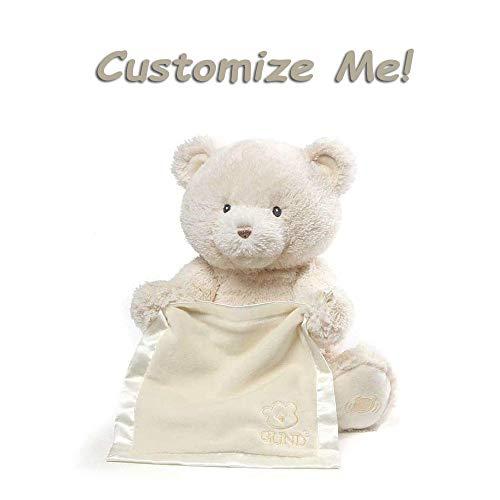 GUND Personalized Peek A Boo Teddy Bear (Plush Custom Stuffed Animal for Baby), -