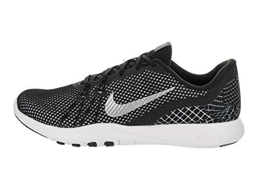 Nike Formateurs Flex Formateur 7 Impression Cross-training Chaussures Noir / Argent Métallique Blanc