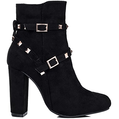 SPYLOVEBUY Style Block Boots Suede Black Heel EMERY Pumps Women's Buckle Ankle Zxq4rwTCSZ