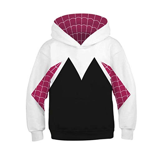 Tsyllyp Kids Girls Casual Hoodies Spiderman Gwen Stacy Costume Hooded Sweatshirt -