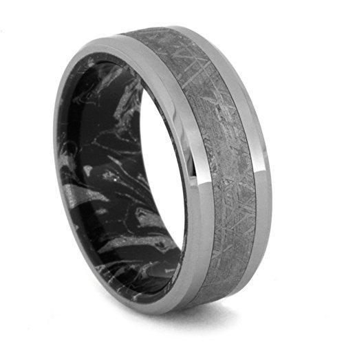 Gibeon Meteorite, Titanium 8mm Comfort Fit Black and White Mokume Gane Wedding Band, Size 9.5