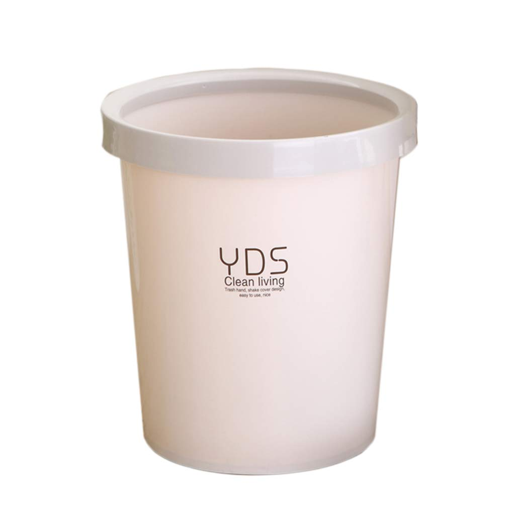 CSQ Plastic Trash can Without Cover, 9L Cylindrical Household Trash can, Kitchen Office Classroom Bedroom Trash Indoor