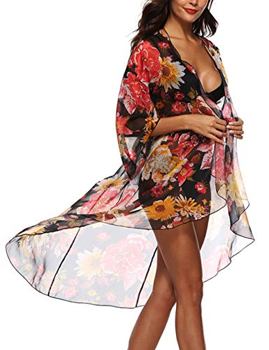 (Womens 3/4 Sleeve Floral Print Chiffon Kimono Cover Up Flyaway Cardigan Coverups Black)