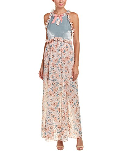 For Love & Lemons for Love and Lemons Womens Blossom Silk-Blend Maxi Dress, M, - Silk Dress Petal Hem