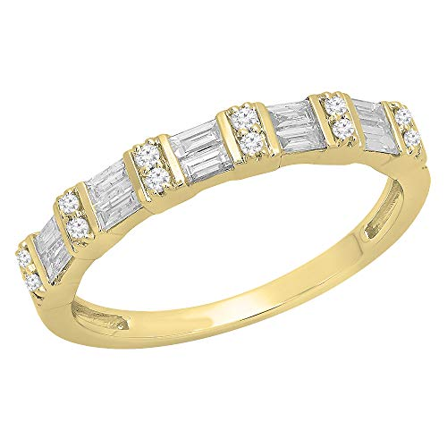 Dazzlingrock Collection 0.38 Carat (ctw) 10K Round & Baguette White Diamond Ladies Anniversary Wedding Band, Yellow Gold, Size 5.5