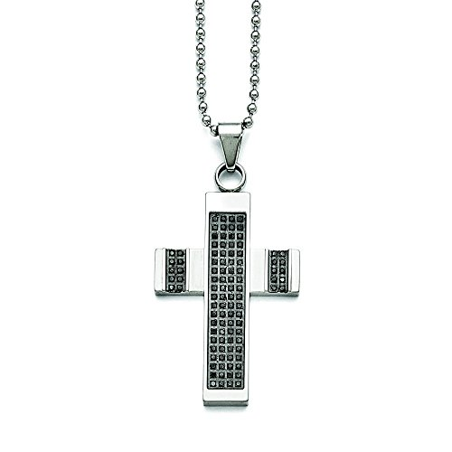 Stainless Steel Polished 1/2ct Tw. Diamond Cross Necklace - 24 Inch (1/2 Ct Tw Diamond Cross)
