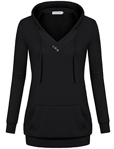 dies,Juniors Button Drawstring Tunic Sweatshirt Activewear (Hoody Pullover Casual Sweatshirt)