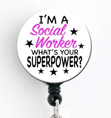 I'm a Social Worker What's Your Superpower - Retractable Badge Reel with Swivel Clip and Extra-Long 34 inch Cord - Badge Holder/Social Work/SW