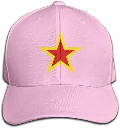 Men s Soviet Union Red Star Yellow Baseball Hat Trucker Hat Dad Cap Plain  Cap Pink e4c07e33c240