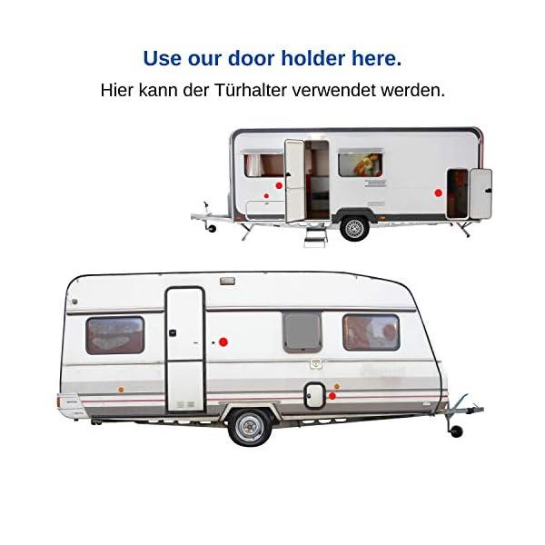 419Z5Eq44UL Türfeststeller für Wohnwagen und Wohnmobil, 1 Pack, zum Anschrauben, mit 35 mm + 48 mm Lochabstand, in weiß, aus…