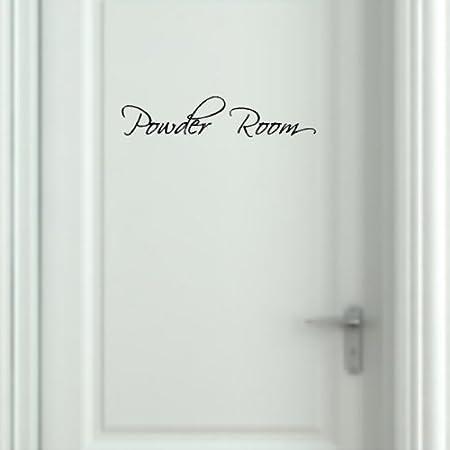 EYE CANDY SIGNS Powder Room Wall Decal Removable Bathroom Wall Sticker 4 x 19
