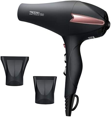 Professional Ionic Salon Hair Dryer, Powerful 2200 watt Ceramic Tourmaline Blow Dryer, Pro Ion Quiet Hairdryer with 2 Concentrator Nozzle Attachments - Best Soft Touch Body/ Black& Rose Gold