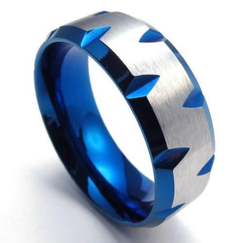 KONOV Bijoux Bague Homme - 8mm - Acier Inoxydable - Anneaux - Fantaisie - pour Homme et Femme - Couleur Bleu Argent
