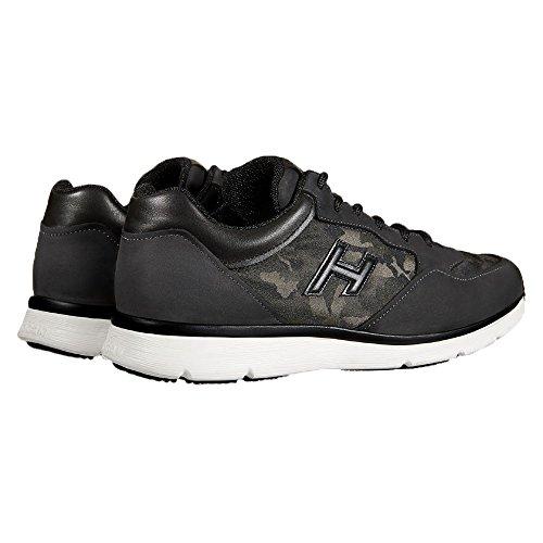 Hogan Hombre HXM2540S410E4R695E Negro/Verde Tela Zapatillas