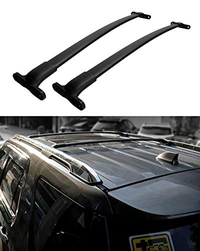 Roof Ford Rails (IRONWALLS 2PCS Roof Racks Crossbars Cargo Load Bars Aluminum Alloy Black for Ford Explorer 2016-2019 with Roof Side Rails)