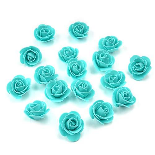 - Artificial Flowers Fake Flower Heads Mini PE Foam Roses for Wedding Car Decoration DIY Party Festival Home Decor Pompom Wreath Decorative Valentine's Day Fake Flowers 50 PCS (Tiffany Blue)
