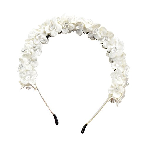 Tip Top Tiara (Small Flowers Full Wreath Headband - White)