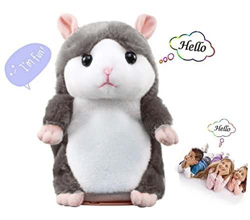 LUCOG Talking Hamster Toys Smart Plush Interactive Speaking Hamster, Pet Mouse Repeats Everything You Say, Shakes its Head Body, Cute Interactive Animal Electronic Rat (Little Grey Hamster)