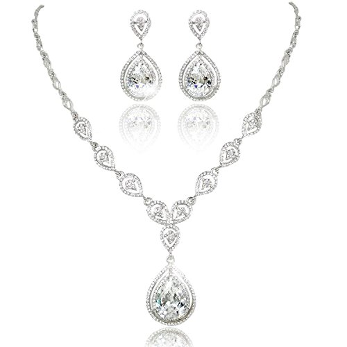 KARMO Teardrop Pendant Bridal Necklace Dangle Earring Jewelry Set Clear CZ Crystal Wedding