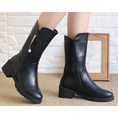 GLL&xuezi Damen Stiefel Modische Stiefel Komfort Echtes Leder PU Herbst Winter Normal Schwarz Gelb Flach black