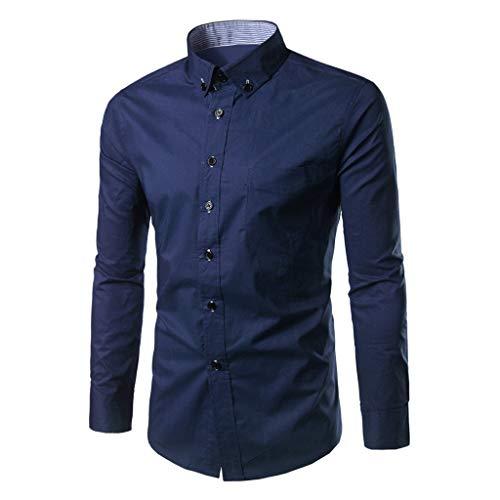 (Jacket Men's Clothing Stand Collar Shirt Long Sleeve Sport Tops Casual Turn-Down Collar Shirts Navy )