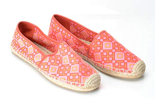 (Tory Burch Espadrilles Canvas Flats Honeysuckle Classic Red Volcano, 7.5 M US)