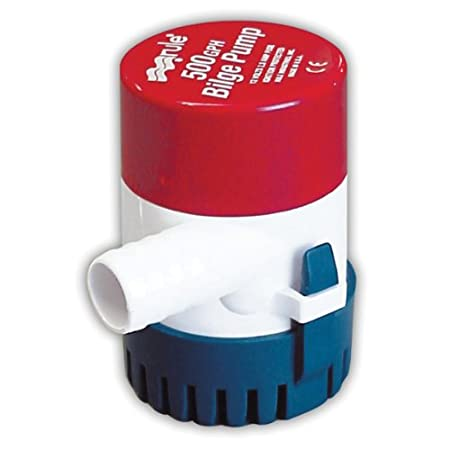 Rule 25D Submersible Bilge Pump, 500 Gallon Per Hour, 12 Volt DC, Non-Automatic,Red/White/Blue