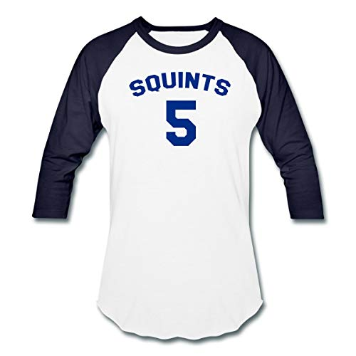 Spreadshirt Squints #5 Baseball T-Shirt, L, White/Navy -