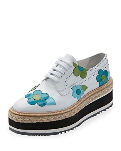 - Prada Microsole Floral Platform Espadrille Sneakers Shoes Size 39.5 Bianco