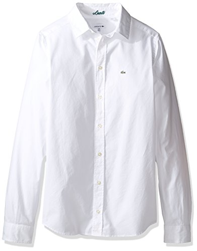 Lacoste Big Boy's Long Sleeve Classic Oxford Woven Shirt, White, 12
