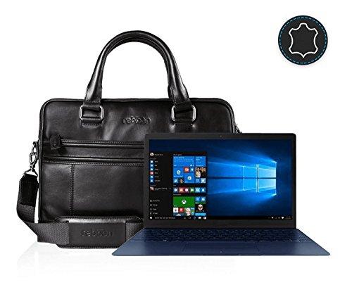 reboon Echt-Leder Laptop-Tasche in Schwarz Leder für ASUS UX390UA GS039T 12 5 | 13 Zoll | Notebooktasche Umhängetasche | Damen/Herren - Unisex | Premium Qualität Schwarz Leder