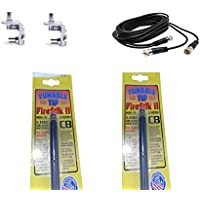 Err 2 Firestik FS5 , FS5b, Black Cb Antennas, 12ft Dual Cophase Coax, Brackets and Studs Combo