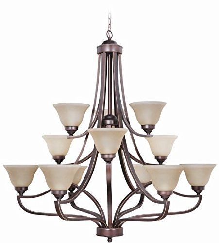 1 Frosted Chandelier Glass Tier - Craftmade 9845MB12 Up Chandeliers with Amber Frosted Glass Shades, Metropolitan Bronze