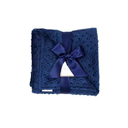 MEG Original Minky Dot Baby Boy Blanket in Double-sided Navy Blue ()