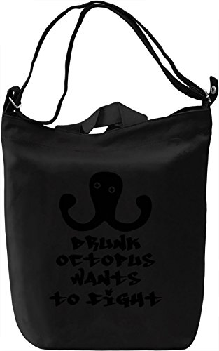 Drunk octopus wants to fight Borsa Giornaliera Canvas Canvas Day Bag  100% Premium Cotton Canvas  DTG Printing 