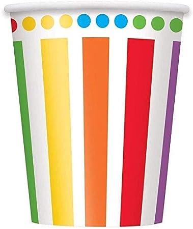 Rainbow Party Kids Birthday Decoration-Rainbow Plates Tazas Servilletas Cubiertas de Mesa Globos Gratis y l/ápices de Colores variados-16 Invitados
