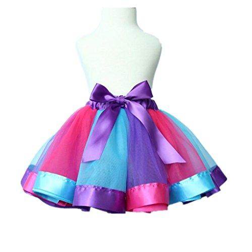 Haoricu Rainbow Bowknot Dancewear Purple