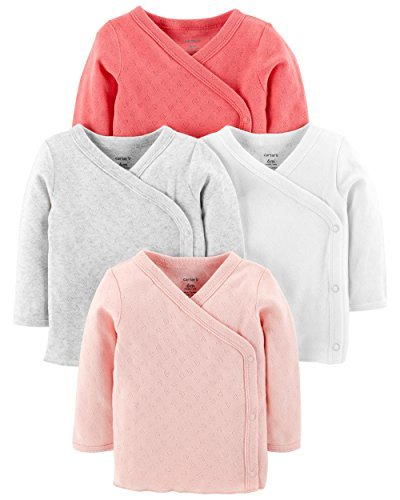 Carter's Baby Girls' 4-Pack Side-Snap Tees (Pink Pointelle, 3 Months)