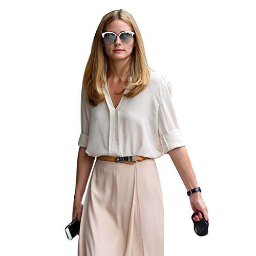 Womens Star Olivia Palermo Street Shoot With The Same V-Neck Shirts Blouse (Beige - Palermo Olivia