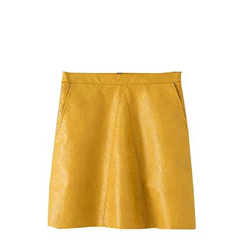 JOTHIN 2017 Nouvelle Fminine Style Europen Mode Jupe en Cuir PU Slim de Jupe Robe Sauvage Couleur Unie Kaki