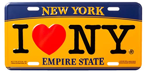 Artisan Owl I Love New York Empire State Blue and Gold Souvenir License Plate (Decorative License Plate New York)