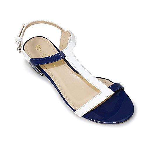 Lunar Betsy, Negro Y Nude Patente T-bar Sandalias De Las Señoras azul y blanco