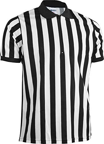 Jersey Pro Style Football - Sports Unlimited Men's Official Pro-Style Zip Neck Adult Referee Jersey Officiating Shirt for Basketball, Football, Soccer
