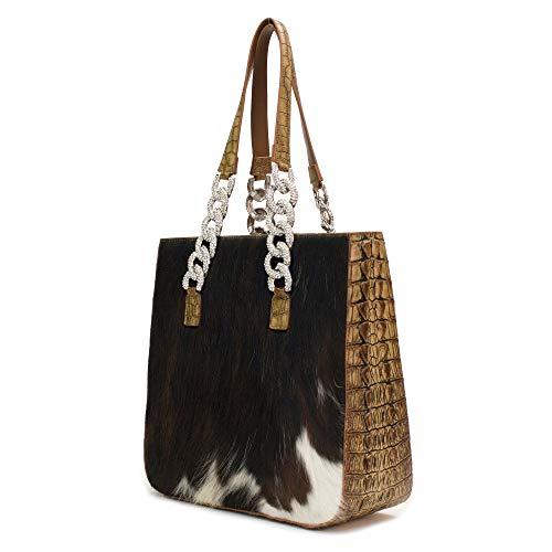 Crocodile Pattern Handbag Tote (Raviani Crocodile Pattern Embossed Top Grain Cowhide/Hair on hide Genuine Leather handbag/wallet)
