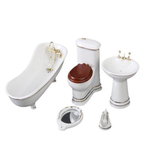 SODIAL(R) 1/12 Children Doll House Bathroom Furniture Set Bath 032812