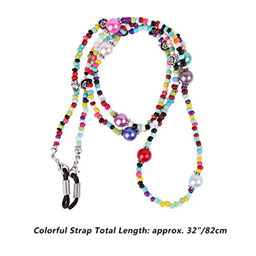 IEFIEL Acrylic Beaded Eyeglass Chain Sunglass Holder Cord Rope Eyewear Retainer Neck Strap Colorful One Size