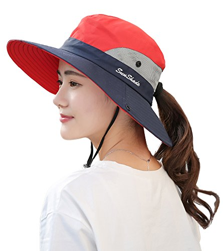 BOGIWELL Womens Outdoor UV Protection Foldable Mesh Wide Brim Beach Fishing Hat Red