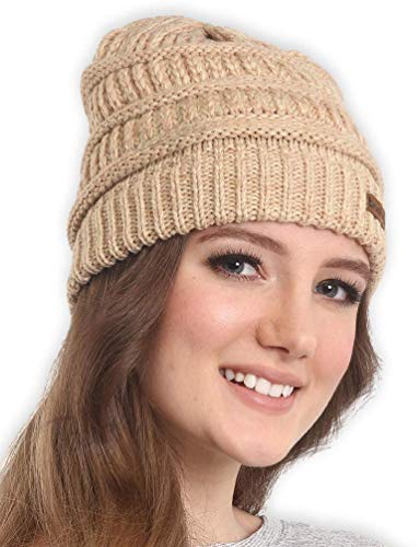 (Brook + Bay Cable Knit Multicolored Beanie - Stay Warm & Stylish - Thick, Soft & Chunky Beanie Hats for Women & Men - Serious Beanies for Serious Style)